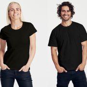 Klassisches T-Shirt für Damen und Herren Schwarz
