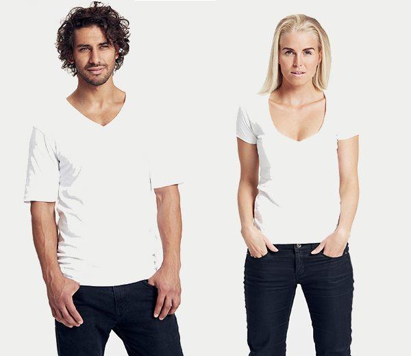 V-Neck T-Shirt für Damen und Herren weiss