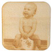 Foto-Lasergravur auf Holz Untersetzer