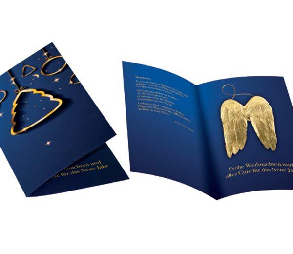 Weihnachtskarte Goldene Flügel