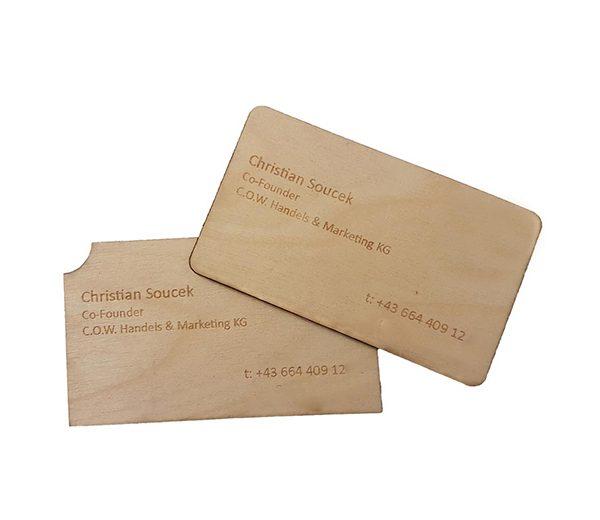 Holz Visitenkarte