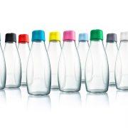 Designer Glasflasche mit verschidenen Deckeln