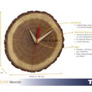 Analoge Holzuhr, Quarzuhr, Wanduhr aus Holz