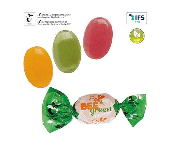Bonbons im kompostierbaren Werbewickel vegan