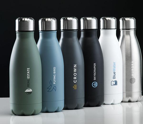 Edelstahl Trinkflasche in Flaschenform