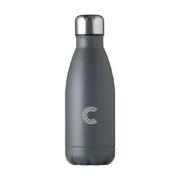 Edelstahl Trinkflasche in Flaschenform grau